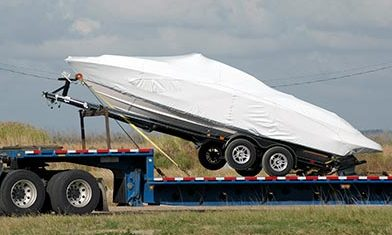 boat on flatbed trailer