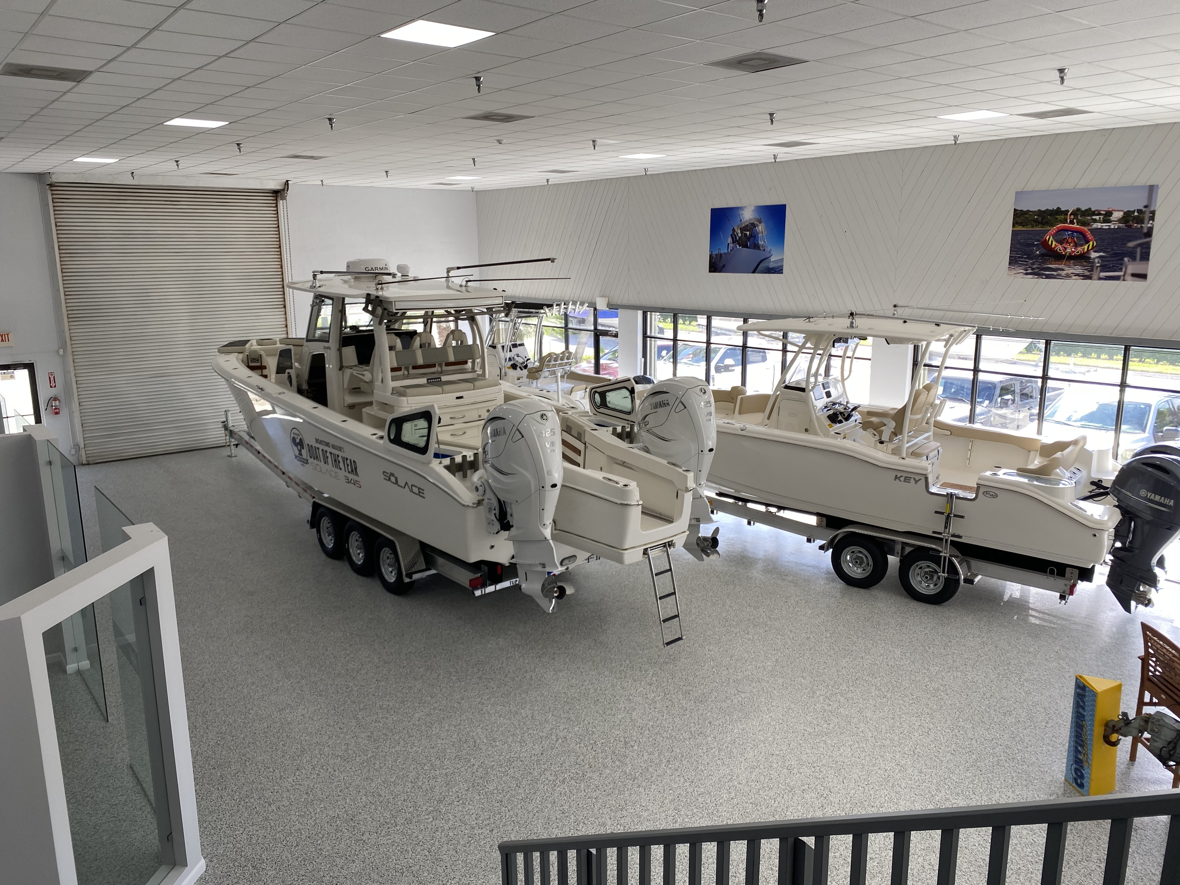 showroom with white boats
